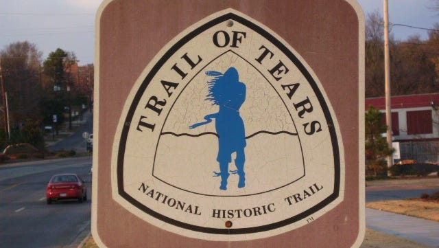 This and similar signs mark the Trail of Tears journey that 19 Cherokee Indians began Sunday in Georgia.
