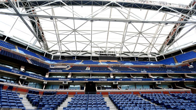 A general view of the construction on the retractable roof at Arthur Ashe stadium at the Billie Jean King National Tennis Center in New York.