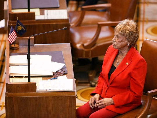 Senator Jackie Winters, R-Salem, in the Senate chambers as lawmakers work to close out the short legislative session on Saturday, March 3, 2018.