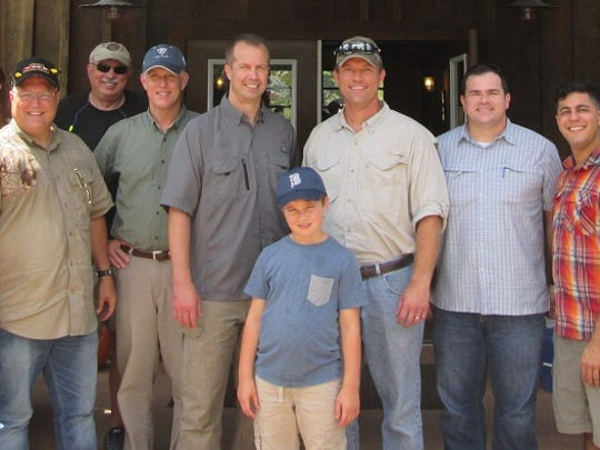Dan Ruder, Boeing, Airman Kelsey Backmeire, Colonel West Anderson, USAF, retired, Ron Hollingsworth, Colonel Rob Gass, USAF, retired, Colonel Ty Neuman, 2nd Bomb Wing Commander at Barksdale AFB, attorney Scott J. Chafin, Gregorio, Chafin & Johnson LLC,  Wes Chafin,  Cook Yancey attorney and FBA treasurer, Jason Nichols, Captain Joseph Arora and U.S. Magistrate Judge, Honorable Mark Hornsby pose at the recent shooting event.