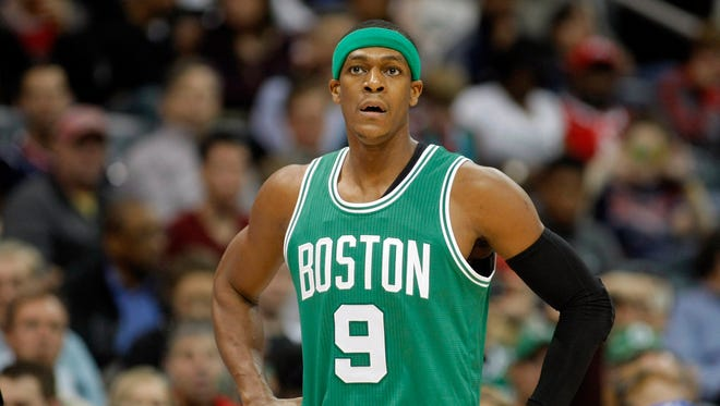 Celtics guard Rajon Rondo reacts during a game against the Hawks.
