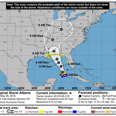 Home pensacola news journal pnj subtropical storm alberto forecast cone as of 1 pm fandeluxe Gallery
