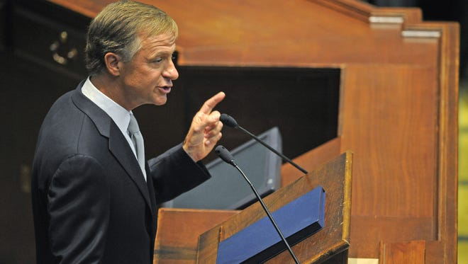 FILE - Gov. Bill Haslam delivers his annual State of the State address to the state legislature and the people of Tennessee at the Tennessee State Capitol in downtown Nashville Monday Feb. 3, 2014, in Nashville, TN.
