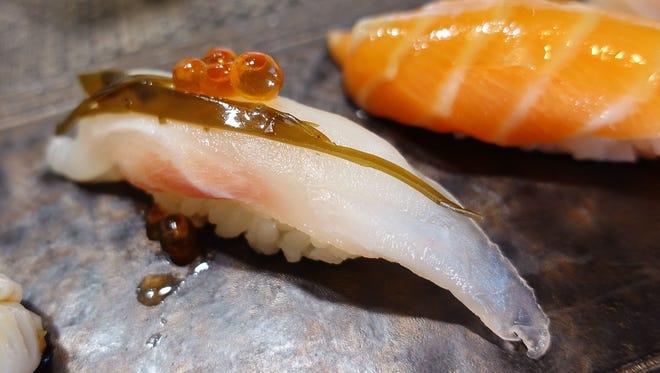 Nigiri sushi is shown at a restaurant in Phoenix.