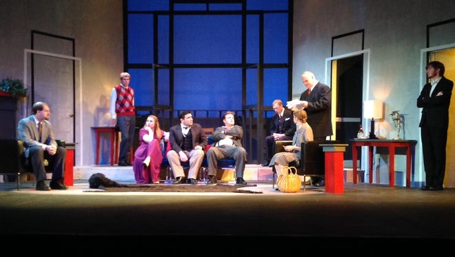 """Richmond Civic Theatre presents """"And Then There Were None"""" starting Friday. From left, James Fry, Cole Baxter, Chloe Burton, Jeremy Clark, Ronnie Wylie Jr., John Munger, Beth Good, John Garden and Ian Kinder."""