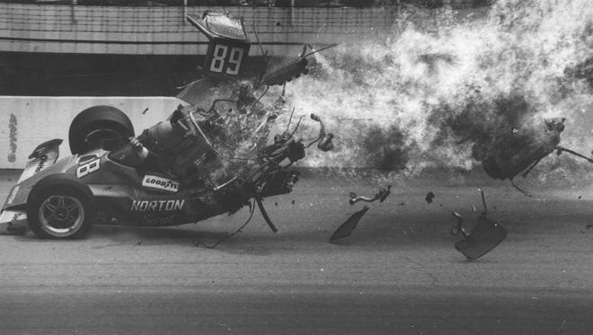 On lap 126 of the 1975 Indianapolis 500, Tom Sneva made contact with Eldon Rasmussen's car in Turn 2. Sneva flipped over Rasmussen, hit the outside wall and burst into flames. Sneva escaped with only minor burns.