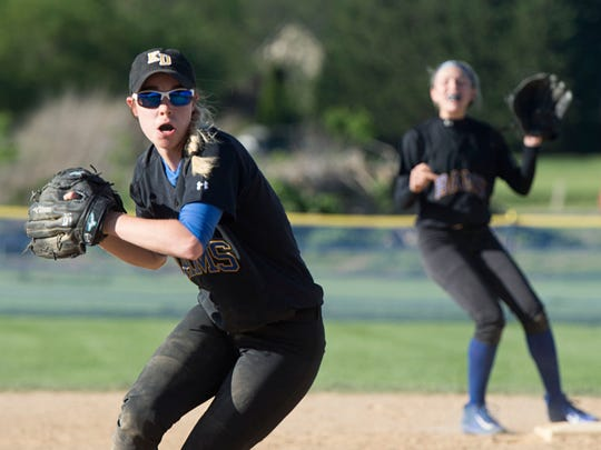 Kennard-Dale's Chloe Parker gets set to throw to first, Wednesday, May 3, 2017. The Rams beat the Bolts, 9-3, clinching the YAIAA III championship.