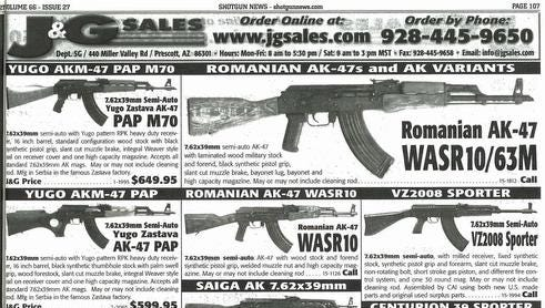 An ad from a 2013 magazine was supplied by the Violence Policy Center, a Washington advocacy group, as an example of the marketing of foreign-manufactured assault-style weapons in the U.S. The Obama administration is being urged by a dozen Democratic senators and 82 Democratic House members in separate letters to ban the importation of military-style assault weapons.