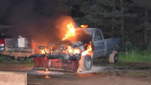 A Midway Auto Plow truck was found on fire.