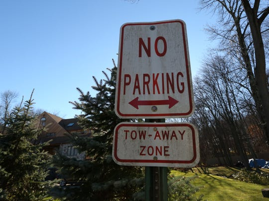 A no parking sign near Hillary and Bill Clinton's home
