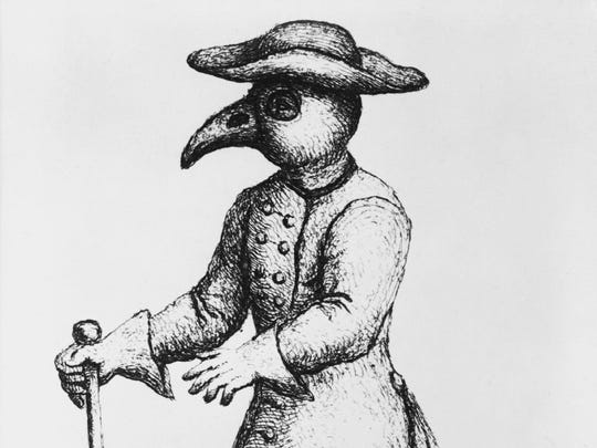 Dress of a doctor during the London Plague.  During the Middle Ages, it was widely believed the plague came from poisonous air. Some plague doctors wore a mask shaped like a beak that contained spices to purify the air as shown in this 17th-century woodcut.