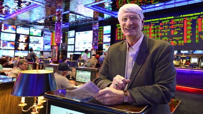 Terry Cox, manager of the sports book at the Peppermill, explains horse betting for those interested in placing a bet on the Preakness Stakes.