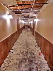 University of Michigan fraternity Sigma Alpha Mu is being accused of causing significant damage to 45 rooms, including this hallway pictured here at the Treetops Resort in Dover Township near Gaylord, over the weekend of Jan. 17-18, 2015.