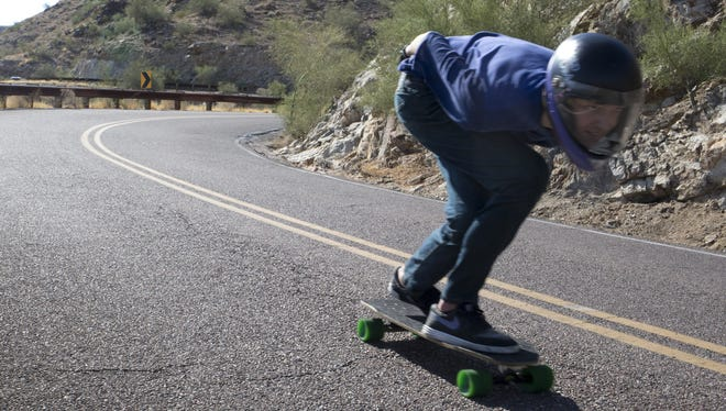 Ed Lynn longboards, July 16, 2015, down Summit Road in South Mountain Park, 10919 S. Central Ave., Phoenix.