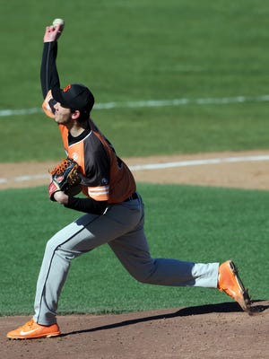 Somerville pitcher Alex Willenbrock on the mound against Rutgers Prep on Tuesday.