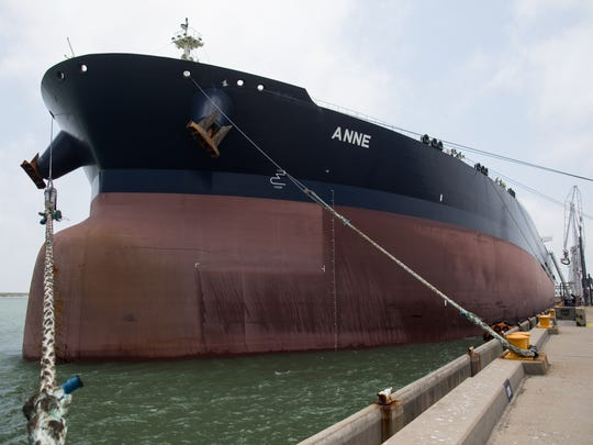 The Anne docked at the Oxy Ingleside Energy Center on Friday, May 26, 2017. is the largest tanker to ever dock in a U.S Gulf of Mexico port.