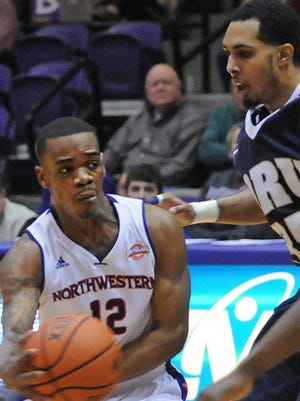 Northwestern State's Jalan West is shown passing the ball against Oral Roberts earlier this season.