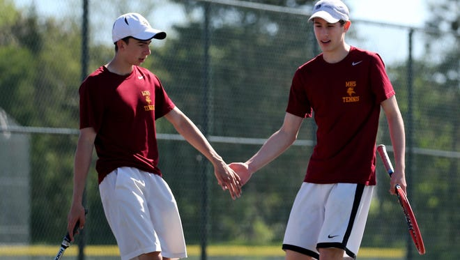 Pittsford Mendon's Patrick O'Brien and Josh Weiss won 7-5, 6-2 in the first round, and 6-1, 6-2 in the second to advance to the state quarterfinals.