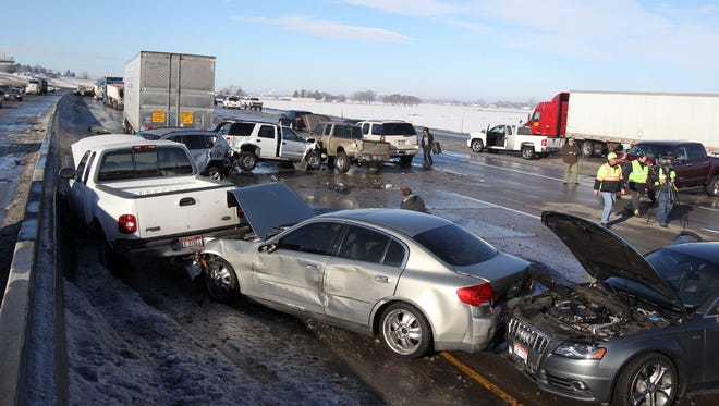 GM's accident prediction technology could help in pileups like this one involving 40 vehicles in Meridian, Idaho, last year