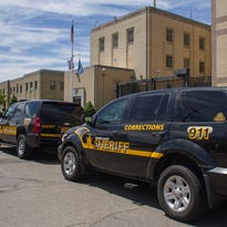 Chemung County Sheriff's Office vehicles sit in front of the county jail in Elmira.