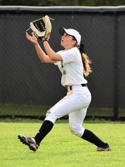 Plymouth center fielder Jessica Tucci tracks down a