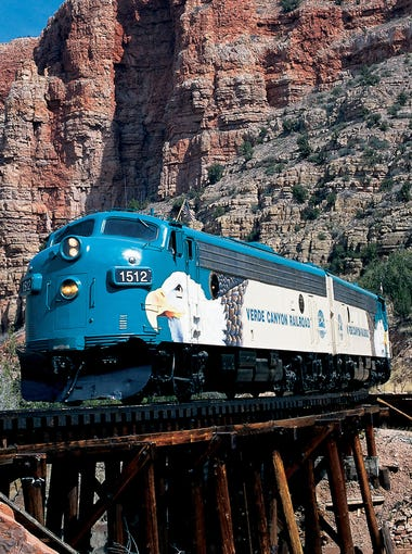 The Verde Canyon Railroad runs past an old train stop called Sycamore. Verde Canyon Railroad runs between Clarkdale and Perkinsville.