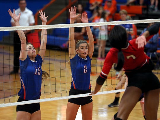 Central's Trinity Southall, left, and Hadley McIvor defend the net