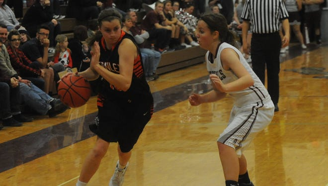 Fernley's Brooke Chapin drives with the ball during a game earlier this season against Dayton.