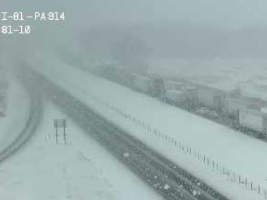A Pennsylvania Department of Transportation traffic camera shows Interstate 81 (northbound on the left) at about 11:45 a.m. on March 20, 2018.