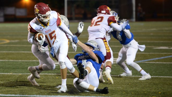 Rocky Mountain High School's Clayton Baca carries the ball after a catch last week. The Lobos host Horizon at 7 p.m. Friday.