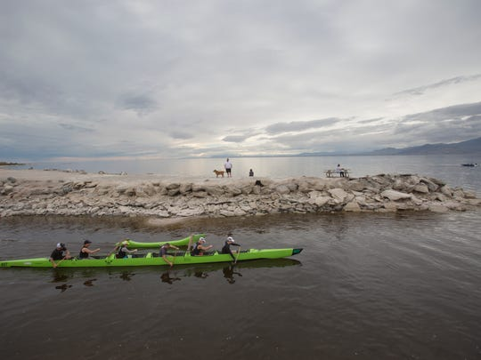 Rowers get ready to compete in the Lowest Paddle Race race at the Salton Sea during the second annual event held on February 11, 2017.