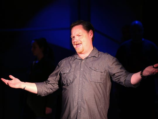 "Jeff Witt, as Gomez, sings during a rehearsal for ""The Addams Family"" at Pentacle Theatre,"