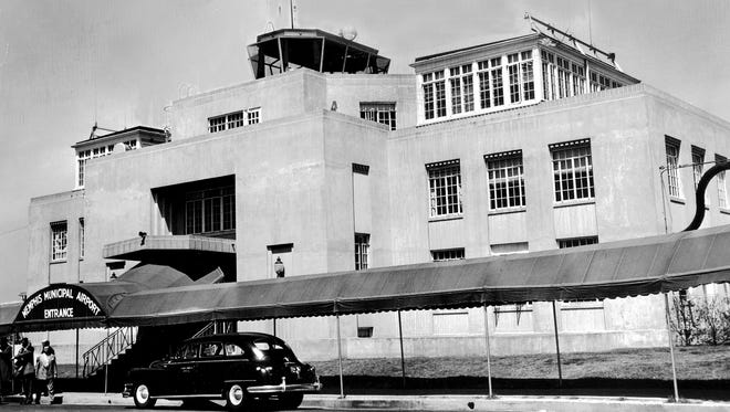 October 7, 1960 - This modest building on the north side of Winchester Road served as the Memphis Municipal Airport into the 1960's before Memphis International Airport became a reality on the south side of Winchester.