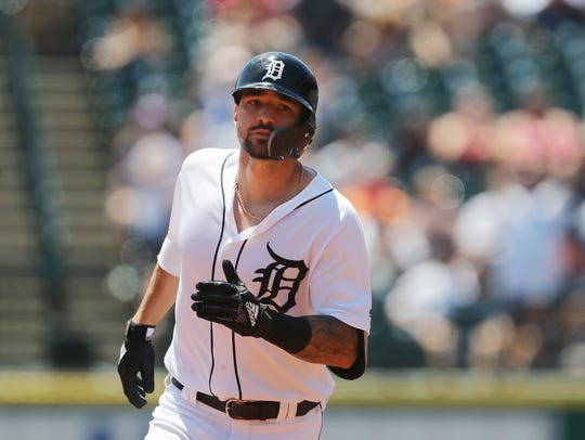 Tigers right fielder Nicholas Castellanos rounds the