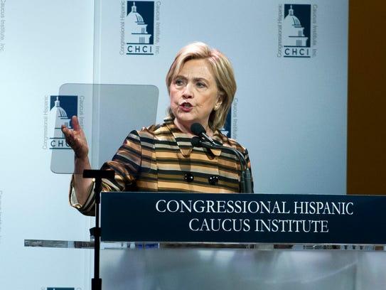 Hillary Clinton speaks at a Congressional Hispanic
