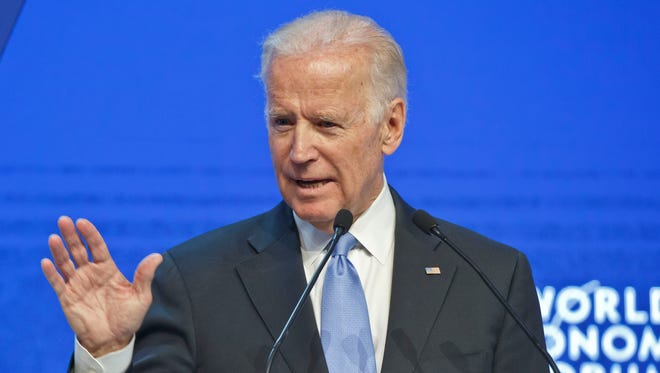 Vice President Biden gestures as he speaks at the plenary session of the World Economic Forum in Davos, Switzerland, on Jan. 20, 2016.