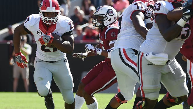 Georgia running back Nick Chubb runs against South Carolina during the first half at Williams-Brice Stadium.
