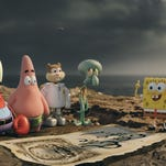"""This image released by Paramount Pictures and Nickelodeon Movies shows characters, from left, Mr. Krabs, Patrick Star, Sandy Cheeks, Squidward Tentacles, and SpongeBob SquarePants in a scene from """"The Spongebob Movie: Sponge Out of Water."""" (AP Photo/Paramount Pictures and Nickelodeon Movies)"""