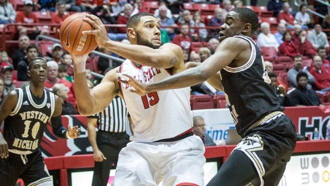 Ball State's Franko House tries to pass during a home game against Western Michigan on Saturday. Ball State defeated Western Michigan 75-71 in overtime.