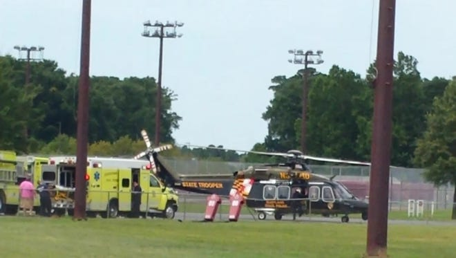 A medical helicopter picked up a burn victim on the campus of the University of Maryland Eastern Shore to transport to the western shore of Maryland.