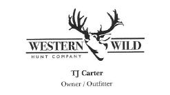 """Thomas """"TJ"""" Carter's business card for """"Western Wild Hunt Company."""""""