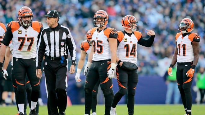 The Cincinnati Bengals question a call made in the fourth quarter of the NFL Week 12 game between the Baltimore Ravens and the Cincinnati Bengals at M&T Bank Stadium in Baltimore on Sunday, Nov. 27, 2016. The Bengals lost to the Ravens 19-14, falling to 3-7-1 on the season.