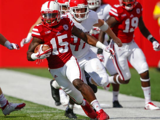 Nebraska wide receiver De'Mornay Pierson-El (15) runs