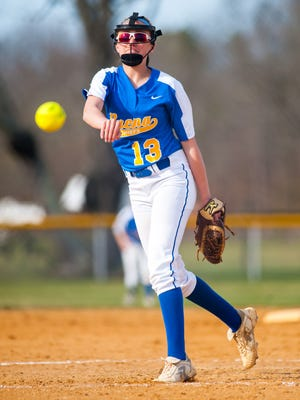 Buena pitcher Natalie Ampole (13) throws to the plate against Wildwood Catholic at Buena Regional High School on Wednesday, April 5.