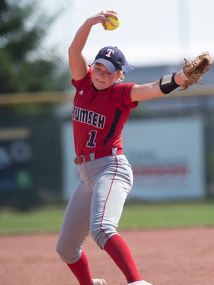 Tecumseh's Maddie Duncan delivers a pitch to a Tri Titans batter during their Class A state championship softball game at Ben Davis High School Saturday morning.