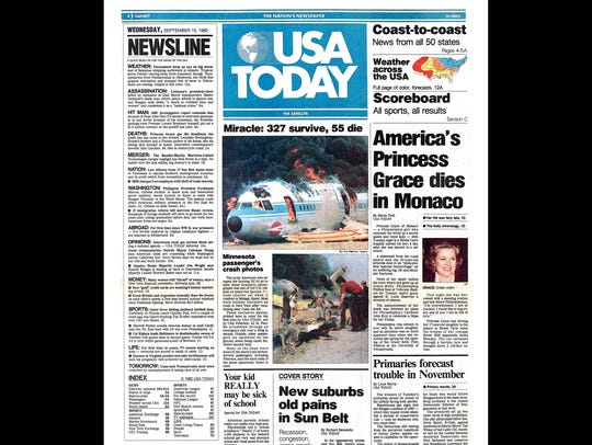 First edition of USA TODAY published Sept. 15, 1982.
