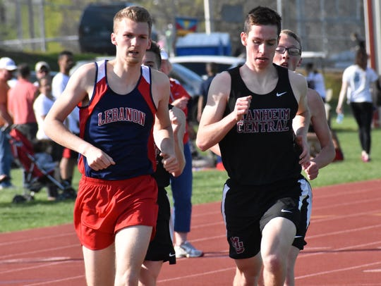 Derin Klick, left, of Lebanon captured the 1600 race