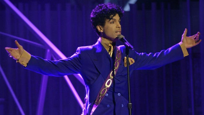Prince performs during the 46th Annual Grammy Awards in a Los Angeles file photo from Feb. 8, 2004.