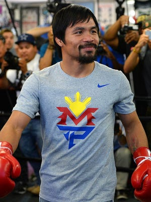Manny Pacquiao works out at the Wild Card Boxing Club in Los Angeles on Wednesday.