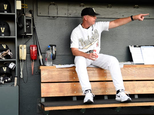 Vanderbilt head coach Tim Corbin watches warm-ups at the NCAA Super Regional Friday June 8, 2018, at Hawkins Field in Nashville, Tenn.